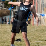 Junior Ryan Bolin throws the javelin during his last attempt. Photo by Megan Biles