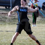 Junior Jackson Willett does his five step approach during his 3rd throw. Photo by Megan Biles