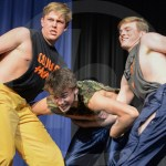 During the talent portion of the contest, seniors Will Stapp, Jack Gilman, and Griffen Fries perform a dance. Photo by Julia Percy