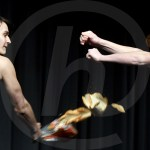 Seniors Sebastian Bruck and Quin Napier karate fight with bread. Photo by Kate Nixon
