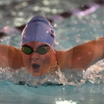 Junior Brynn Winkler competes in the 100 yard butterfly event, ending with a time of 1:10.53. Photo by Aislinn Menke