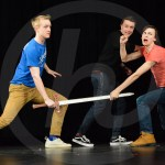 Juniors Henry Morgan, Nick Edge, and Cameron Schoeck engage in a fight scene. Photo by Annakate Dilks