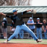 During the 5th inning Max Smith pitches to an Olathe East player. Photo by Megan Biles