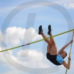 Junior Brooklyn Beck makes a pole vault attempt. Beck placed fifth. Photo by Annakate Dilks