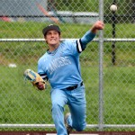 Senior Leo stone warms up in the bullpen during the 7th inning. Photo by Megan Biles