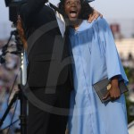 After receiving her diploma, Mr. Bickers poses to get a selfie with senior Destiny Ray. Photo by Reilly Moreland