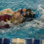 Junior Kathleen Deedy races in the 200 yard individual medley. Deedy finished in fifteenth with a finals time of 2:18.45. Photo by Sarah Golder