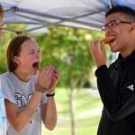 Junior EJ Padgett laughs at junior Jaelen Chamberlain eating a cookie. Photo by Annakate Dilks