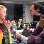 Junior Sullivan Goettsch gets interviewed about mole day by 41 Action News. Photo by Trevor Paulus