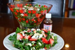 Strawberry Kale Salad with Blues Hog Tennessee Red Dressing