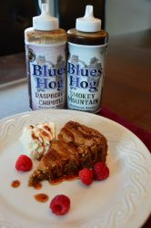 Blues Hog Smokey Mountain Blondie drizzled with Raspberry Chipotle Sauce with squeeze bottles