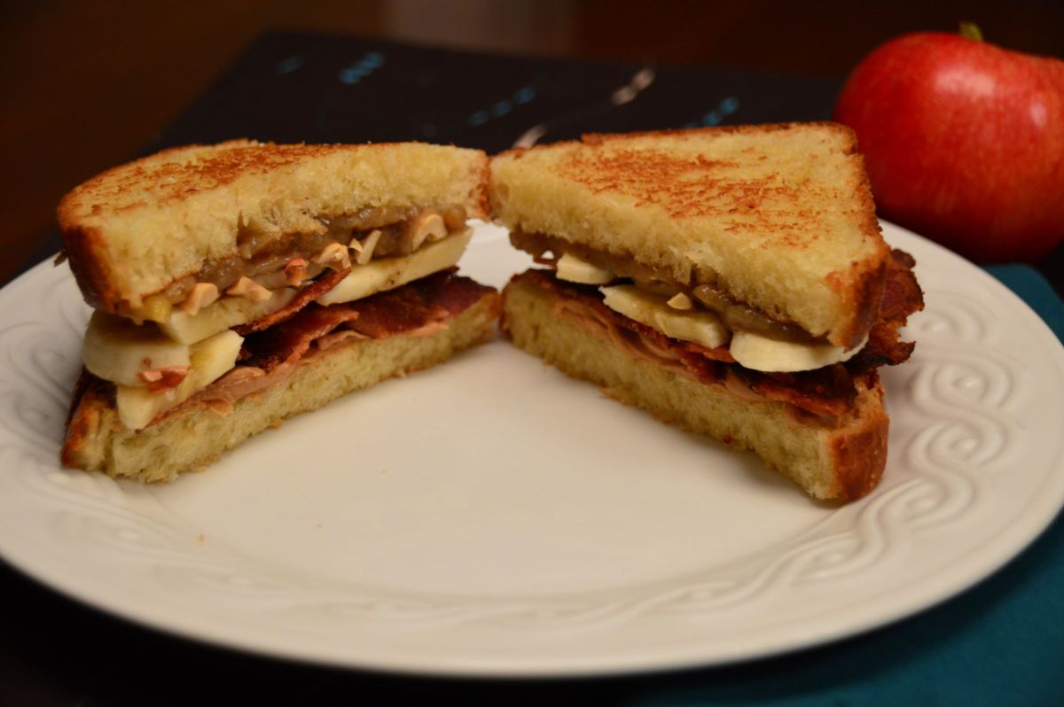 Peanut Butter Spiced Banana Bacon Brioche Sandwich