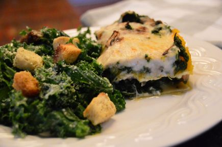 Harvest Vegetable Lasagna Slice and Kale Caesar Salad