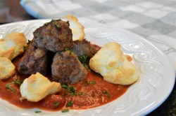 Parmesan Meringue Clouds and Meatballs