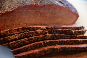 Slices of brisket flat