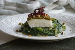 Pistachio Matcha Crusted Halibut