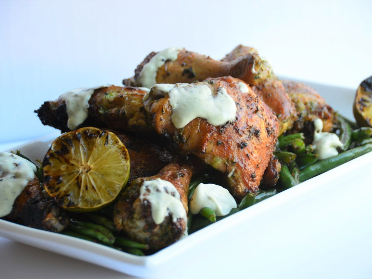Thai Grilled Chicken with Lime and Avocado Basil Sauce