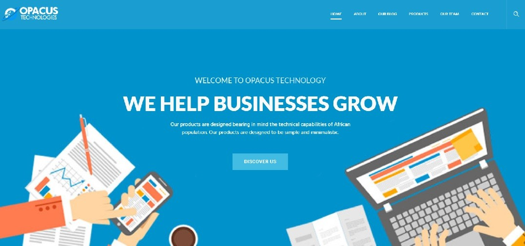 Opacus Tech website screenshot - Opacus Technologies