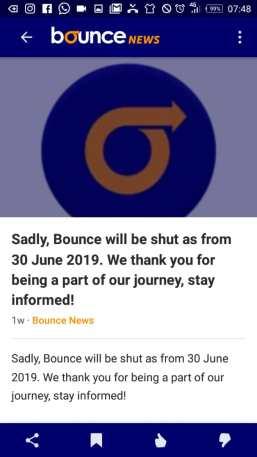 Bounce News shutdown notices on mobile app screenshot