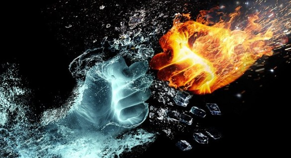 Picture of fire and water depicting the subject: ruthless in business