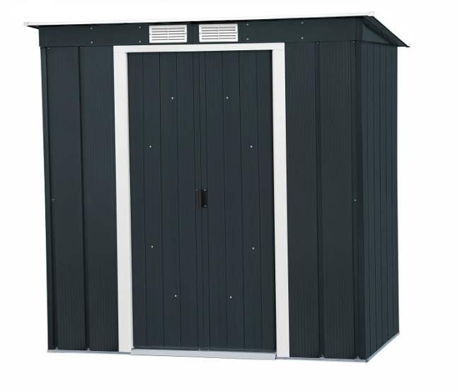 Sapphire 6x4 Pent Metal Shed with Foundation Kit - Anthracite (Resale)