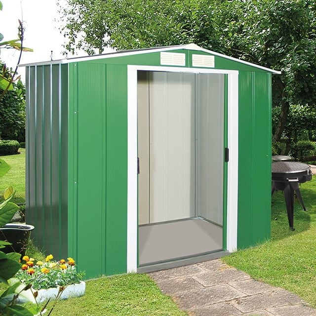 Sapphire Apex Metal Shed 6x4  - Green (Display Model) (Collection Only)