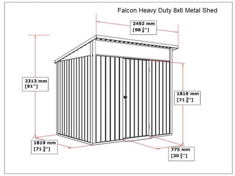 SM Garden Sheds Falcon 8x6 Heavy Duty Apex Shed Single Door (Arriving January 2020 Call To Preorder) - Anthracite Dark Grey
