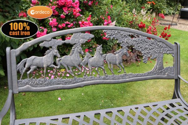 SM Garden Sheds Gardeco 100% Cast Iron Bench (with Horses And Tree)