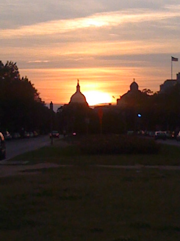 June 2: I caught a lovely sunset on my way home from work on Tuesday. Unfortunately, I'd switched purses, so I didn't have my camera, just my phone -- hence the kinda-grainy photo.