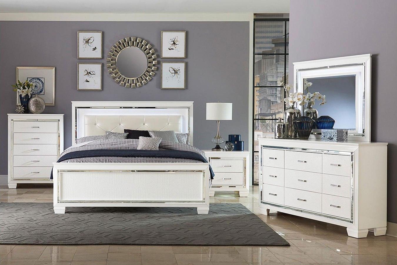 allura panel bedroom set w led lighting white