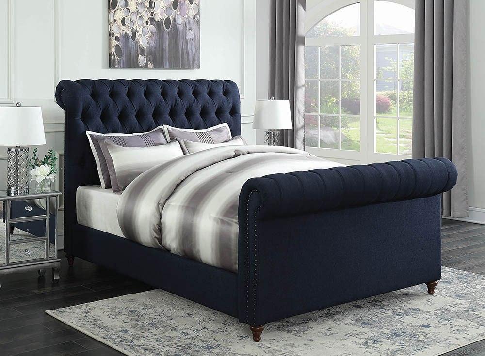 gresham navy blue upholstered bed