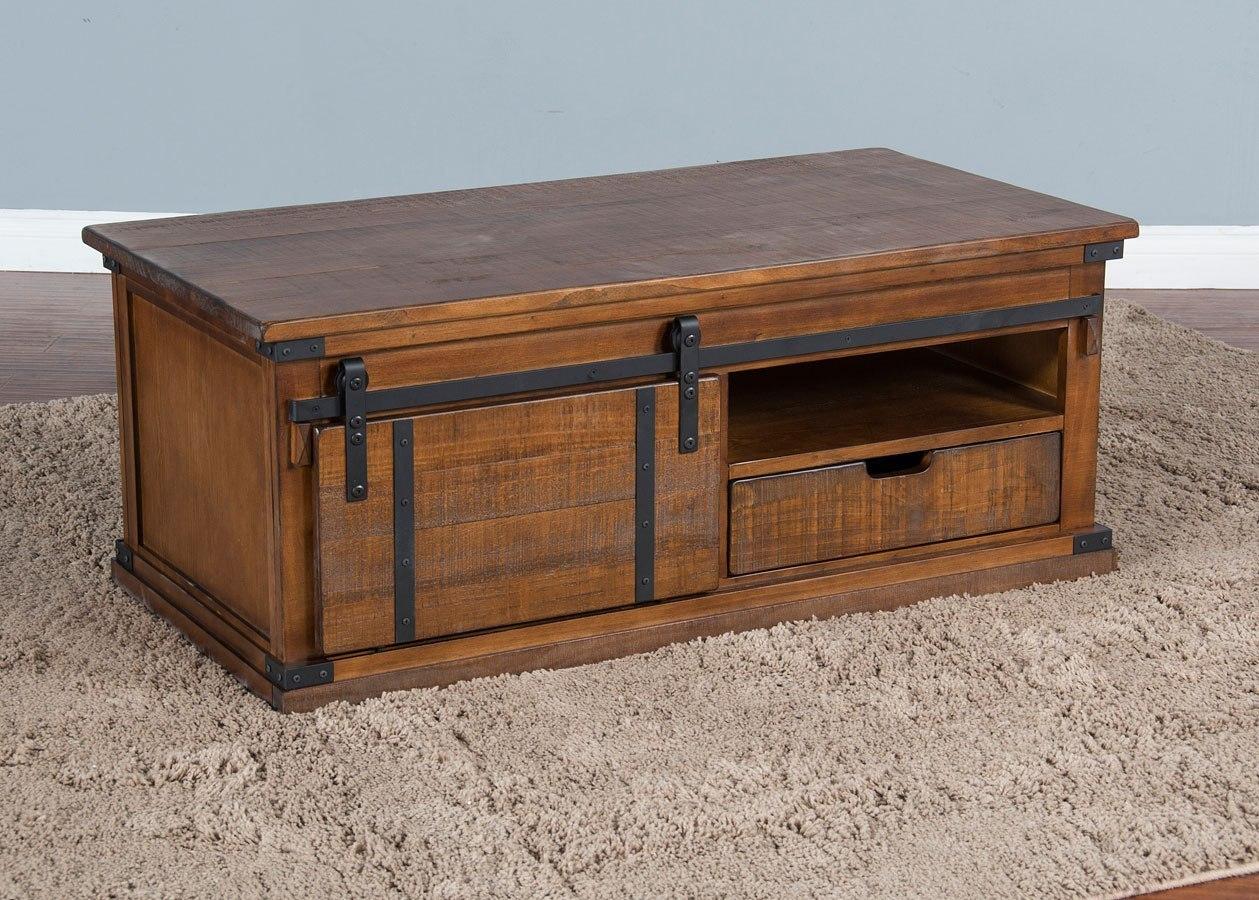 dark chocolate barn door coffee table
