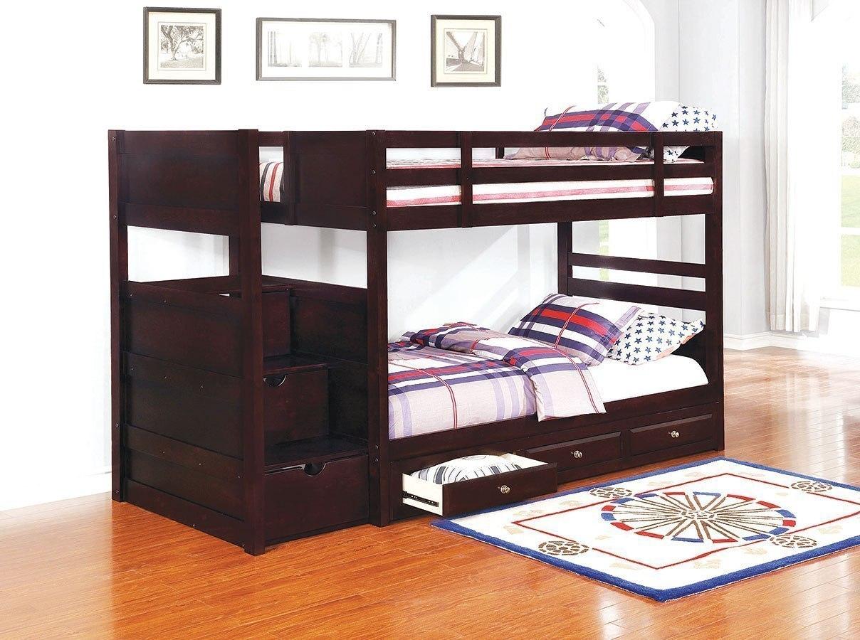 Elliott Twin Over Twin Bunk Bed W Under Bed Storage By Coaster Furniture Furniturepick
