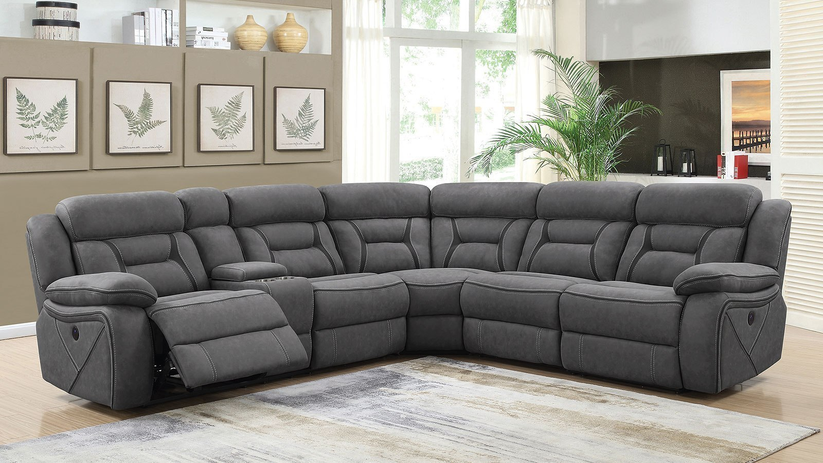 camargue power reclining sectional grey