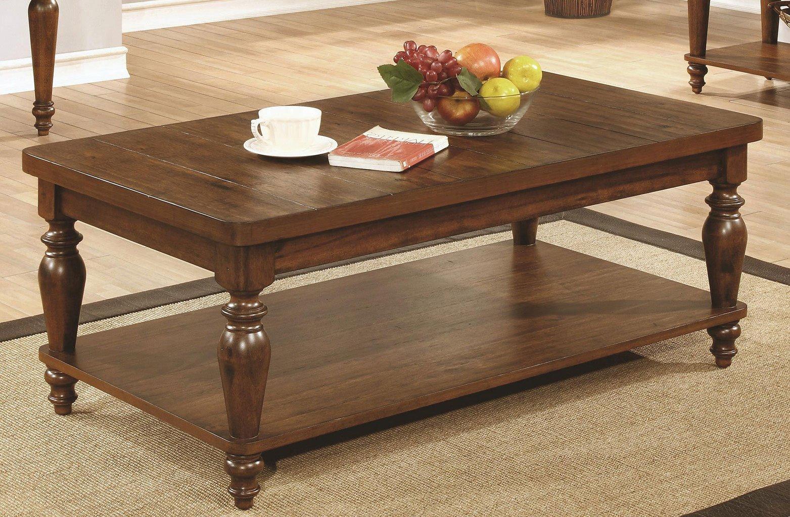 rustic brown coffee table w turned legs