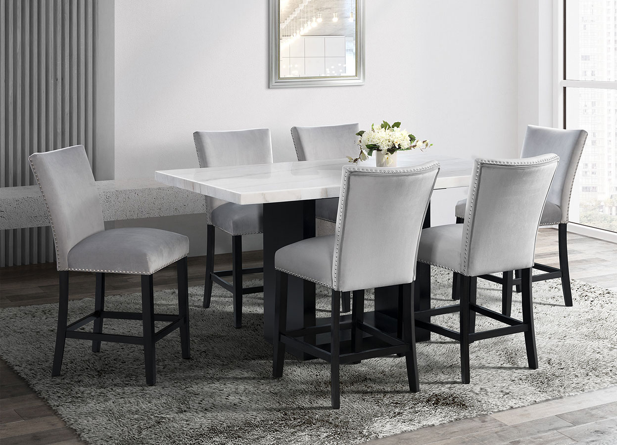 Valentino Counter Height Dining Set W Grey Francesca Chairs By Elements Furniture Furniturepick