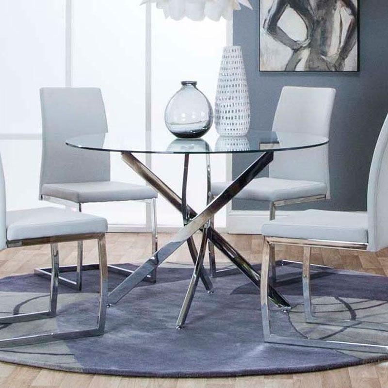 bravo round chrome dining table