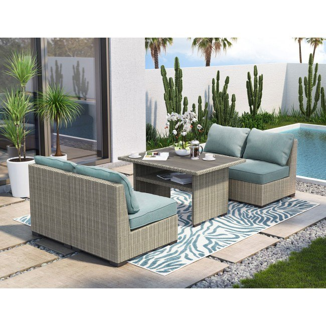silent brook outdoor dining set w armless chairs