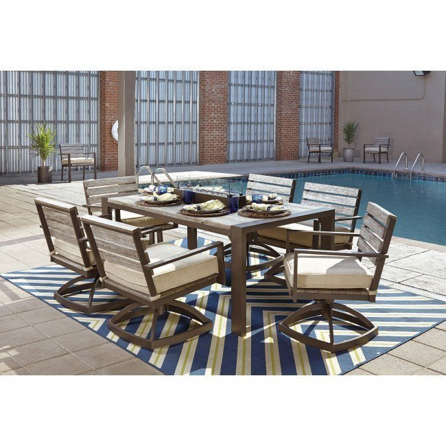 peachstone outdoor dining set w swivel chairs and fire bowl