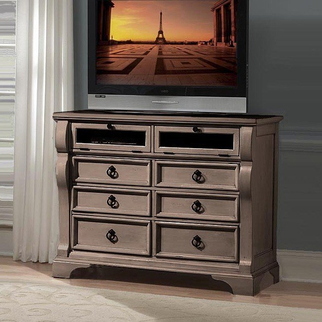 Heirloom Entertainment Chest Pewter Media Chests