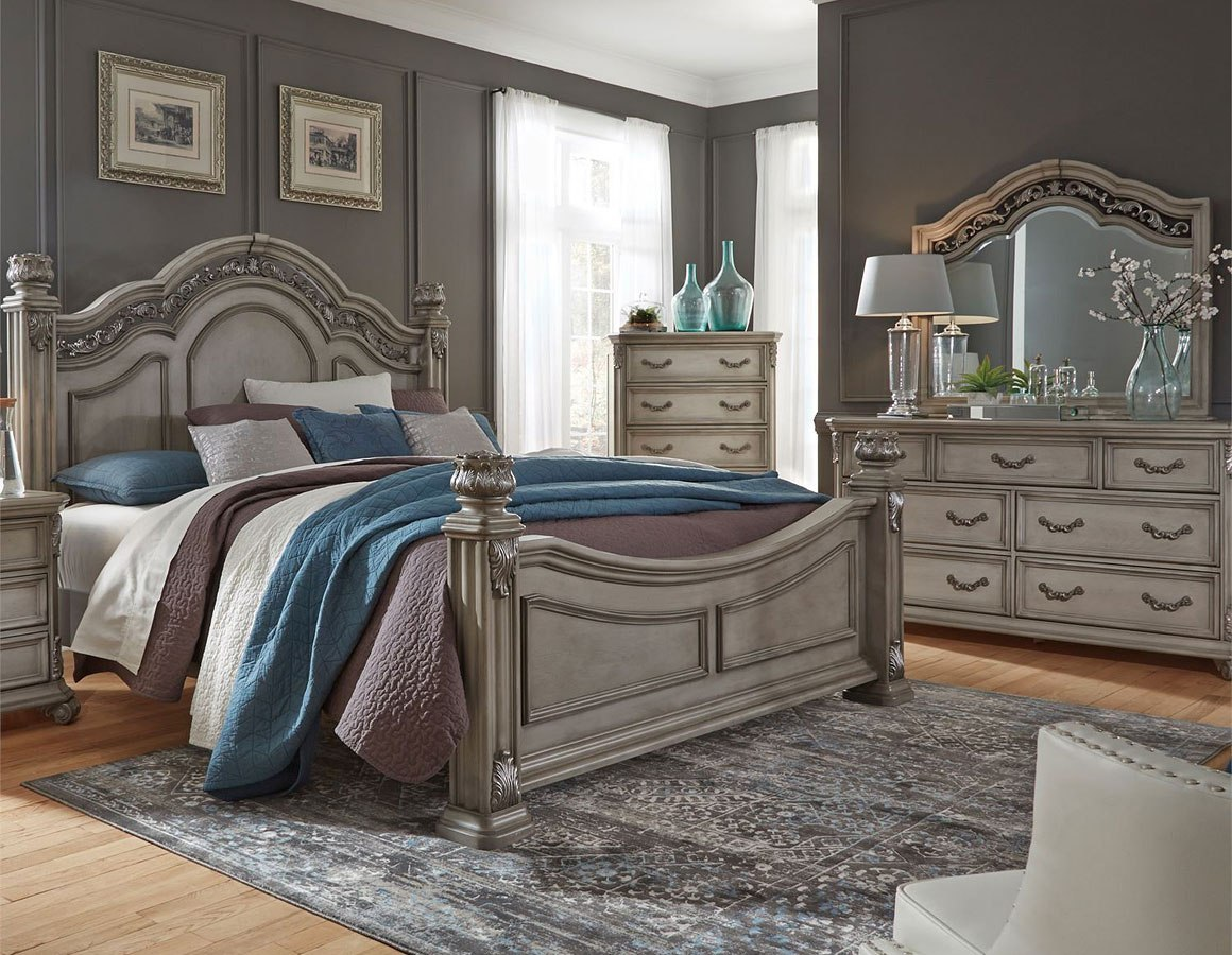 Messina Estates Poster Bedroom Set Dove Gray By Liberty