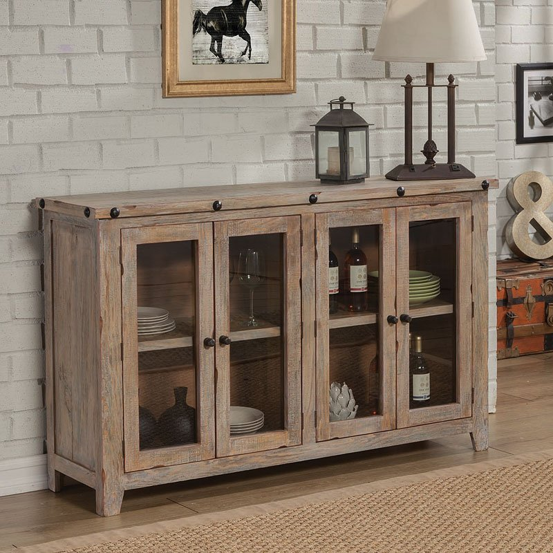 Solid Pine Accent Cabinet W 4 Doors Accent Chests And