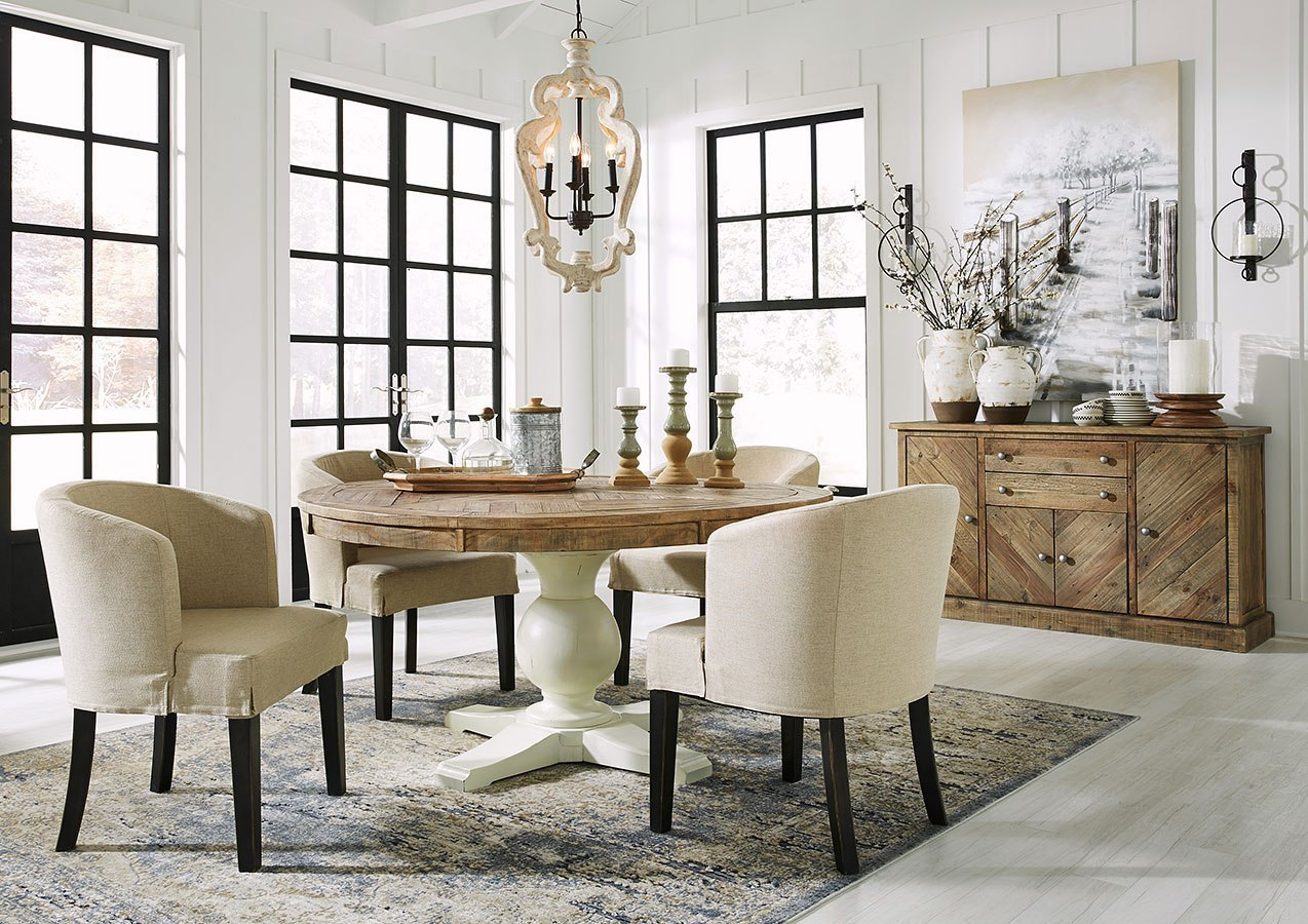 Grindleburg Round Dining Room Set W Low Back Chairs By Signature Design By Ashley Furniturepick