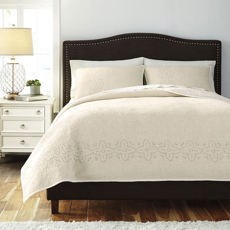 Stitched Off White Quilt Set Bedding Sets Bedding
