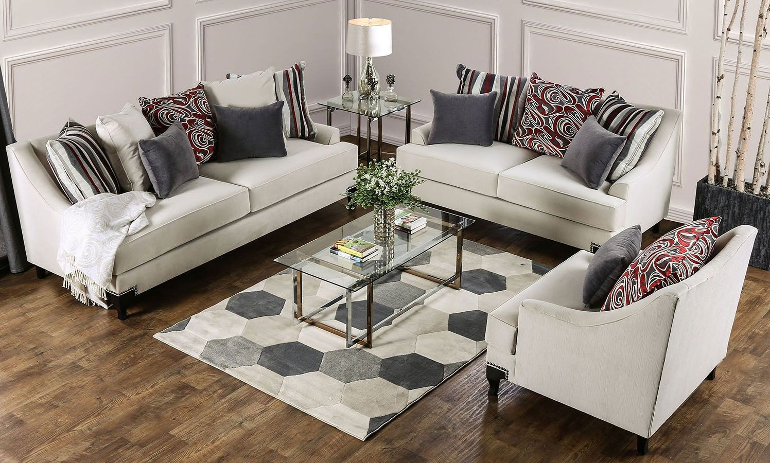 Viscontti Living Room Set (Ivory) By Furniture Of America