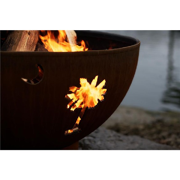 Fire Pit Art Tropical Moon Wood Burning Fire Pit