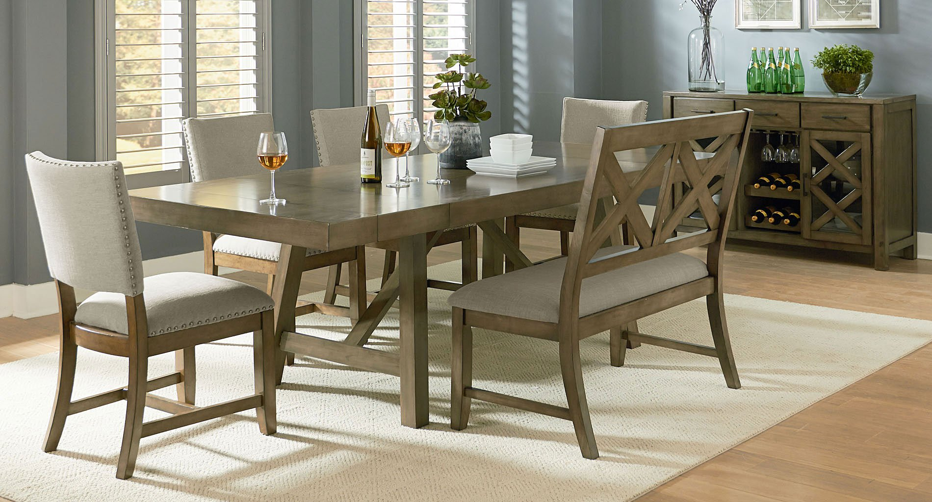 Omaha Dining Room Set W Bench And Upholstered Chairs Grey Standard Furniture Furniture Cart