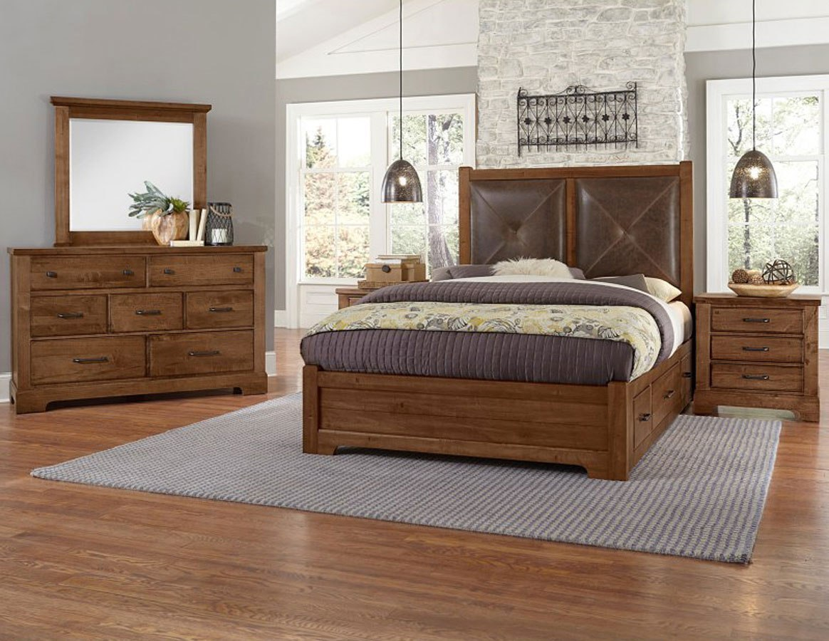 cool rustic leather headboard bedroom set w 2 side storage units amber