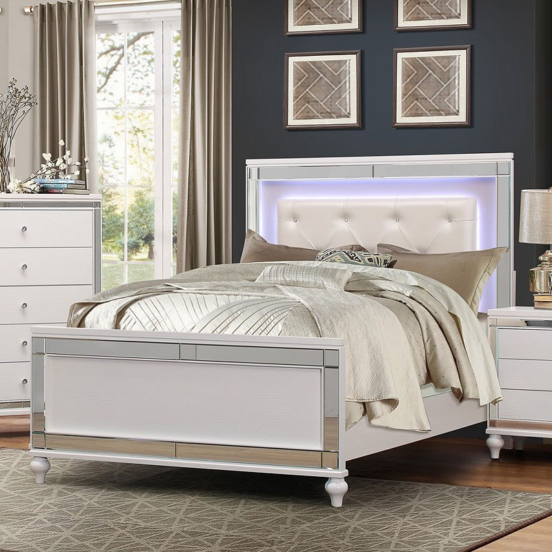 alonza panel bedroom set w led lighting