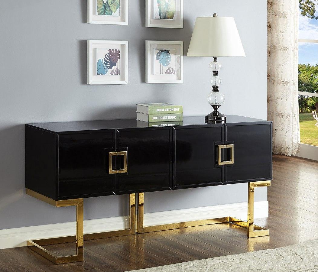 Beth Sideboard Buffet Black Gold Meridian Furniture Furniture Cart